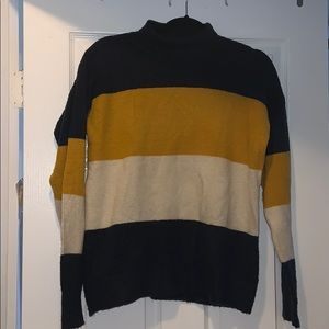 cowl neck stripped sweater